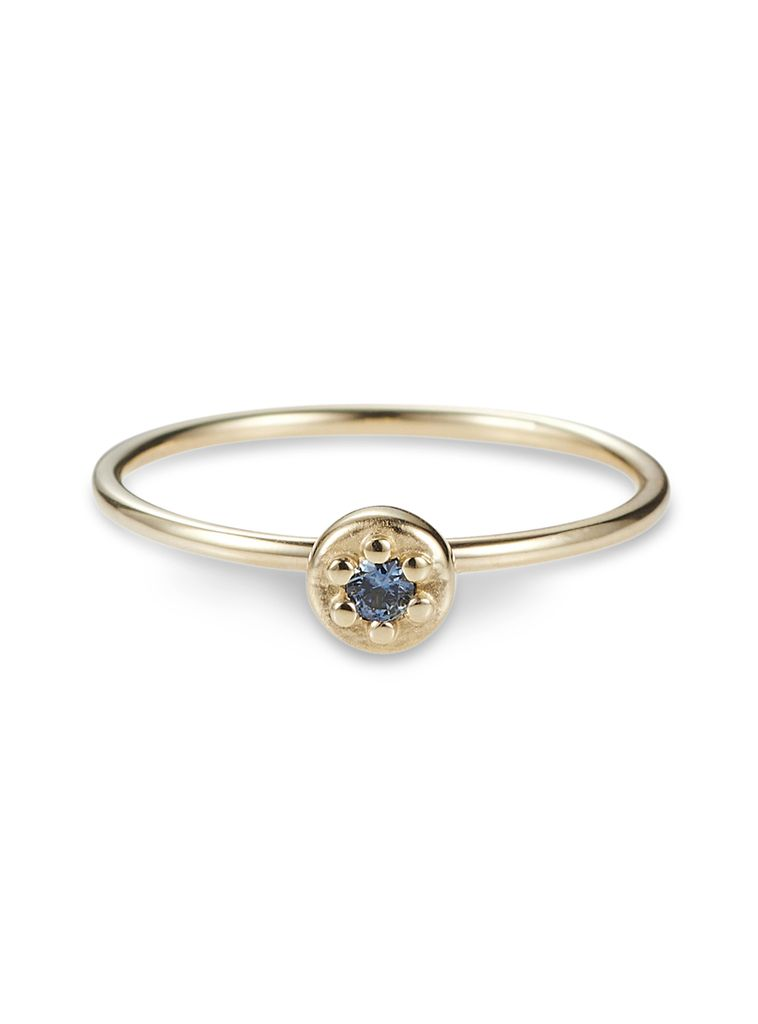Poppy Rock Ring by Luke Rose - 9ct Yellow Gold - Available in Black, White, Pink, Blue, Yellow Sapphire, Tsavorite Garnet and Amethyst