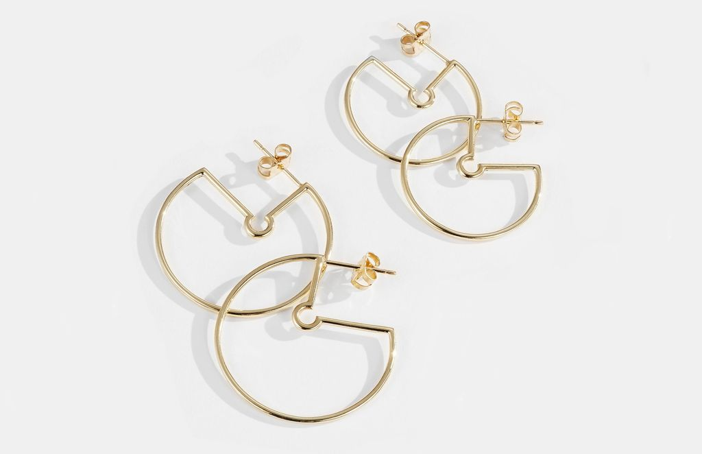 Small Naked Hoop Earrings by Luke Rose - 9ct Yellow Gold