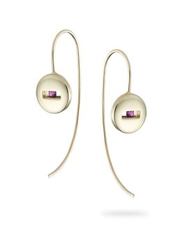 Rolling Rock Ear Wire Earrings by Luke Rose - 9ct Yellow Gold - Available in Black, White, Pink, Blue, Yellow Sapphire, Tsavorite Garnet and Amethyst