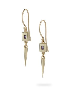 Static Rock Pendulum Earrings by Luke Rose - 9ct Yellow Gold -  Available in your choice of Gemstone: Black, White, Pink, Blue, Yellow Sapphire, Tsavorite Garnet and Amethyst