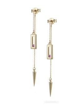 Sliding Rock Pendulum Earrings by Luke Rose - 14ct Gold Diamond Cut Chain, 9ct Yellow Gold Settings - Available in Black, White, Pink, Blue, Yellow Sapphire, Tsavorite Garnet and Amethyst