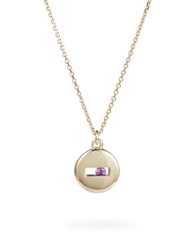 Rolling Rock Necklace by Luke Rose - 14ct Yellow Gold Diamond Cut Chain with 9ct Yellow Gold Setting and Findings - Available in your choice of Gemstone: Black, White, Pink, Blue, Yellow Sapphire, Tsavorite Garnet and Amethyst