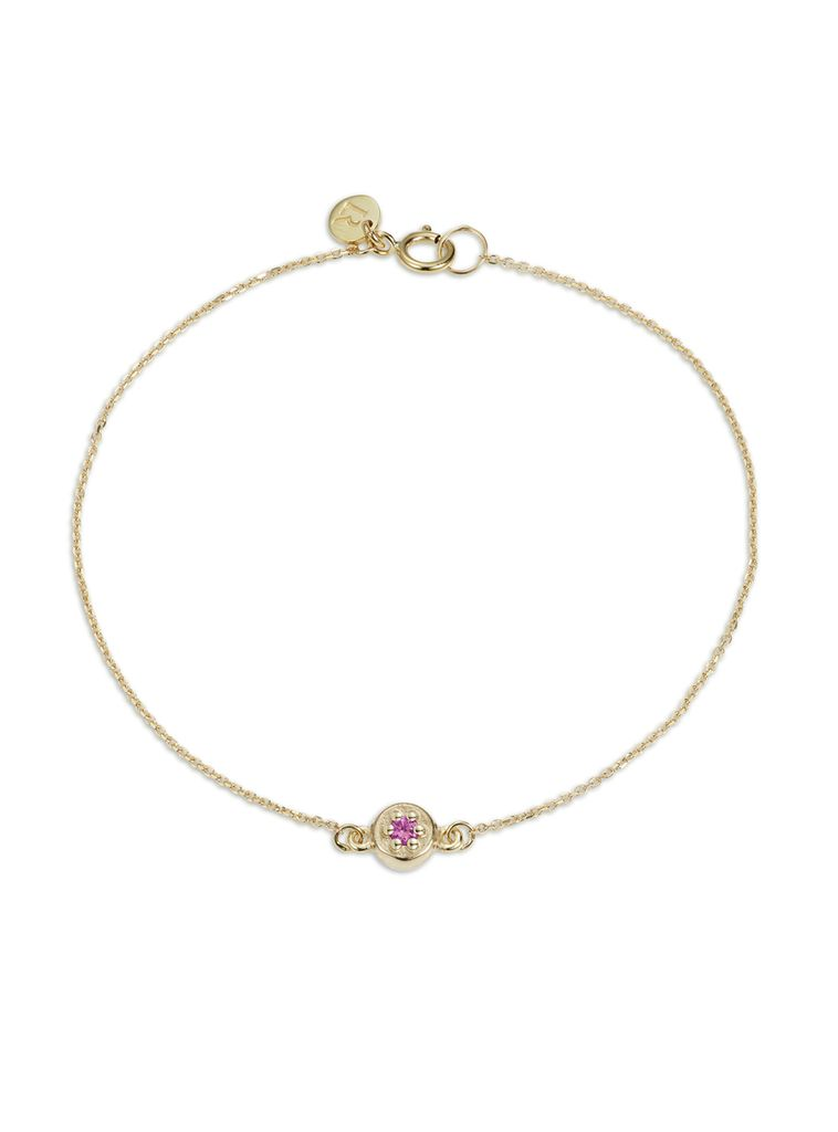 Poppy Rock Bracelet by Luke Rose - 14ct Yellow Gold Diamond Cut Chain with 9ct Yellow Gold Setting and Findings - Available in Black, White, Pink, Blue, Yellow Sapphire, Tsavorite Garnet and Amethyst
