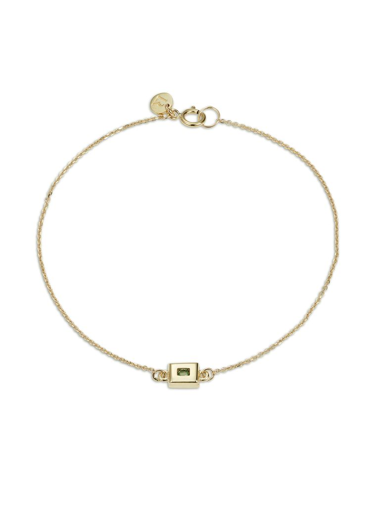 Static Rock Bracelet by Luke Rose - 14ct Yellow Gold Diamond Cut Chain with 9ct Yellow Gold Setting and Findings - Available in Black, White, Pink, Blue, Yellow Sapphire, Tsavorite Garnet and Amethyst