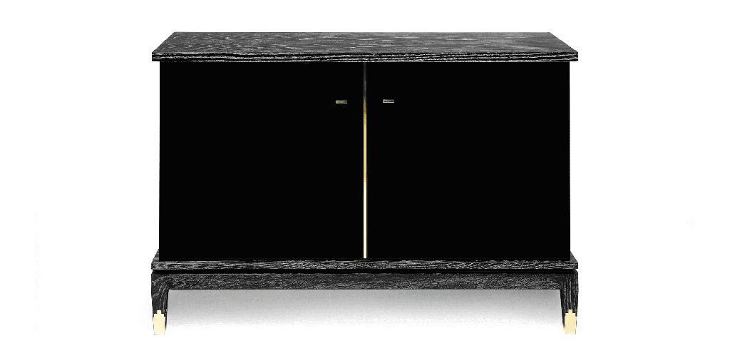 Anna Cabinet - Black Lined Oak and Black Lacquered Sikomoro Wood - Brass Details - W130 D50 H90cm