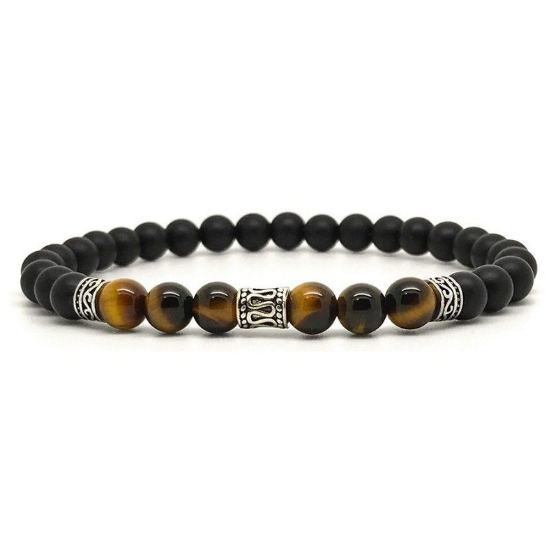 Horn & Stones Horn & Stone - Tigers Eyes 6mm Bracelet - Matte Black Agate and Tigers Eye with Sterling Silver detail - Paris