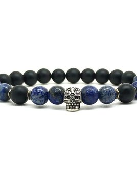 Horn & Stones Horn & Stone - Tribal Lapis 8mm Bracelet - Matte Black Agate and Lapis with Sterling Silver detail - Paris