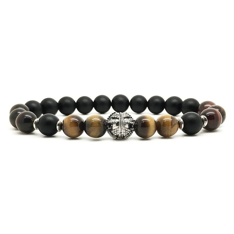 Horn & Stones Horn & Stone - Tiger and Taurus Bracelet - Matte Black agate, Tiger's Eye and Ox Eye with Sterling Silver detail - Paris