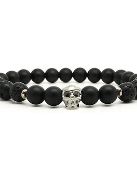 Horn & Stones Horn & Stone - Skull 8mm Bracelet - Matte Black agate and Lava Stone with Sterling Silver detail - Paris