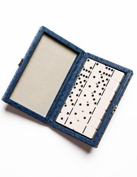 Brouk Domino Set - Blue Ostrich Leather