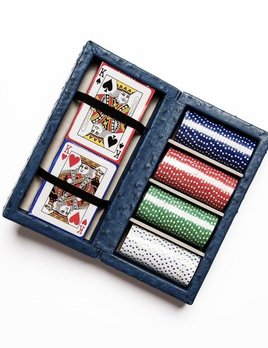 Brouk Poker Set - Blue Ostrich Leather -  Box features chips in four colors, 25 pieces of each and 2 decks of playing cards.