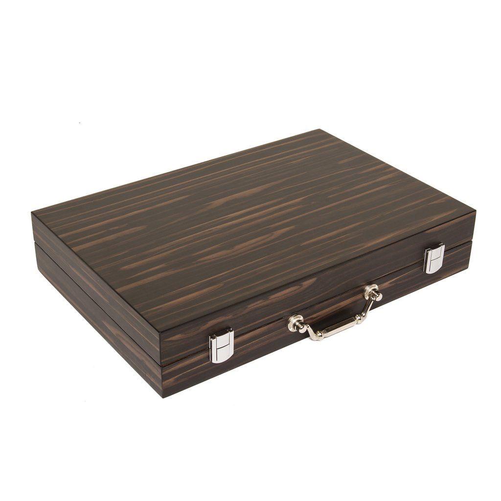Brouk Matte Ebony Backgammon Set - Black Velvet Lining.
