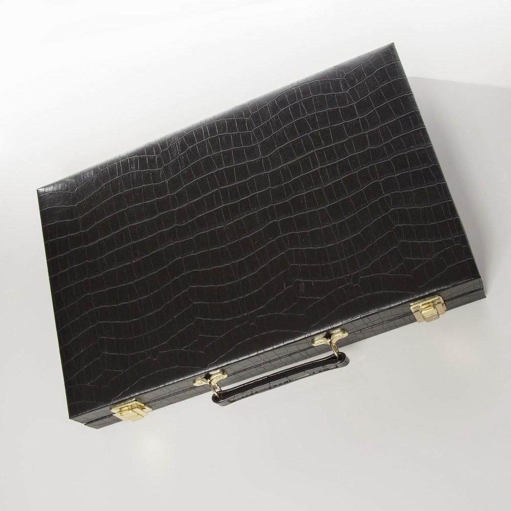 Brouk Backgammon Set - Black Croc Print Leather