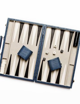 Brouk Backgammon Set - Blue Ostrich Leather