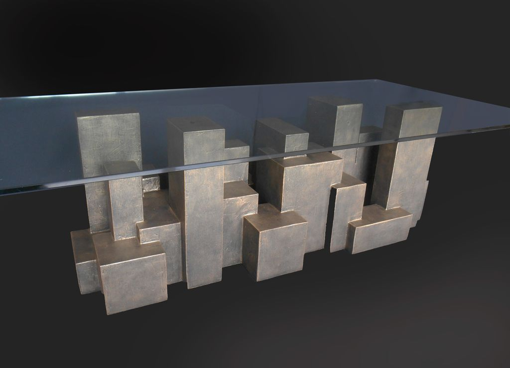 Dan Schneiger Custom Geometric Coffee Table - Dan Schneiger - (Glass Top 70x150cm) - Resin Coated Recycled Materials - Various Finishes Available. By Order Only