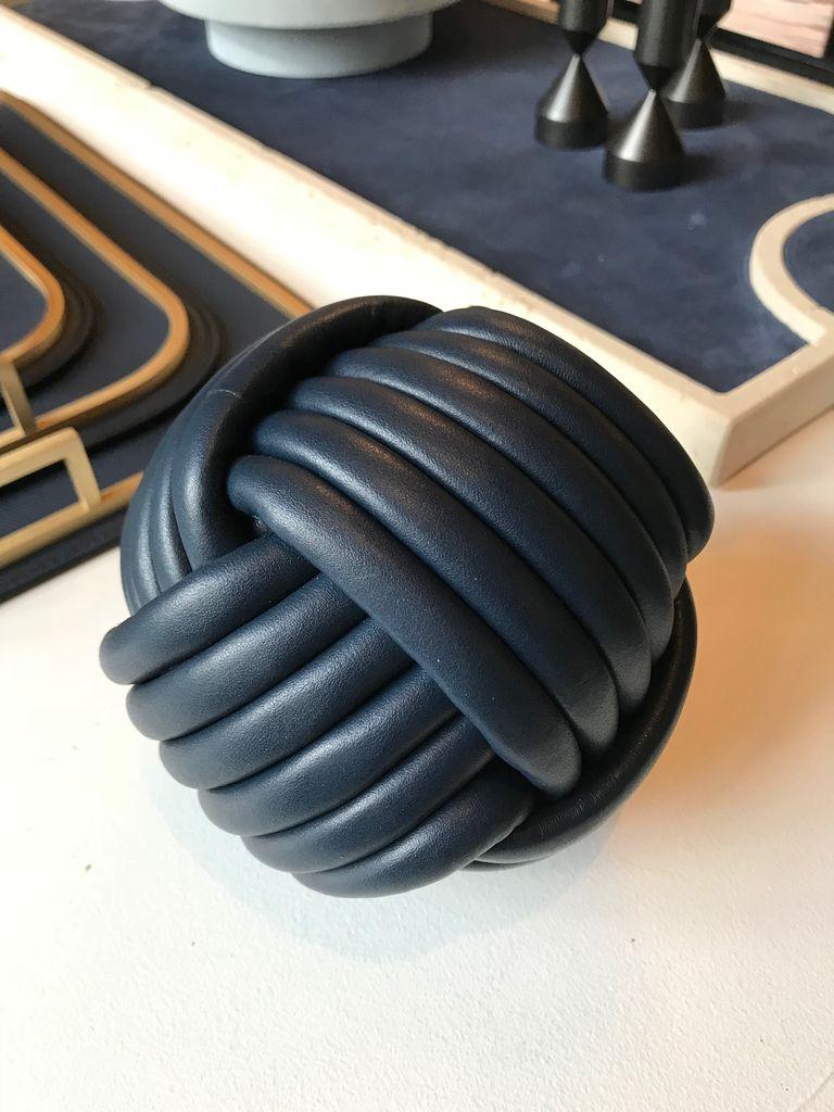 giobagnara Nodo Leather Doorstop - Royal Blue - D14cm - Giobagnara for Becker Minty - Made in Italy