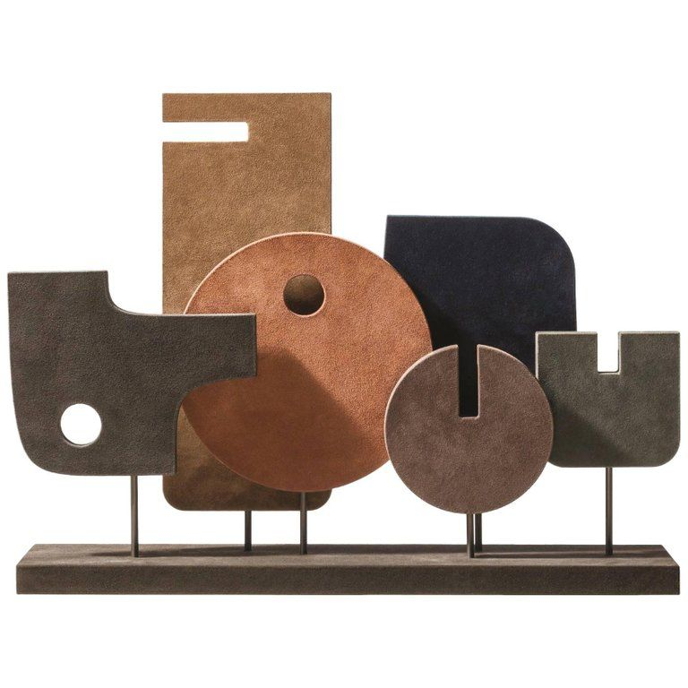 giobagnara Tabou Sculpture 5 - Giobagnara for Becker Minty - Suede and Bronze - 72x18cm H 54cm - Made in Italy