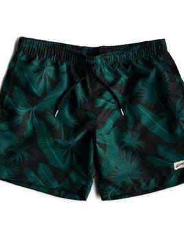 Proper Goods Bather - Black Tropical Palms Swim Shorts - Made in Canada