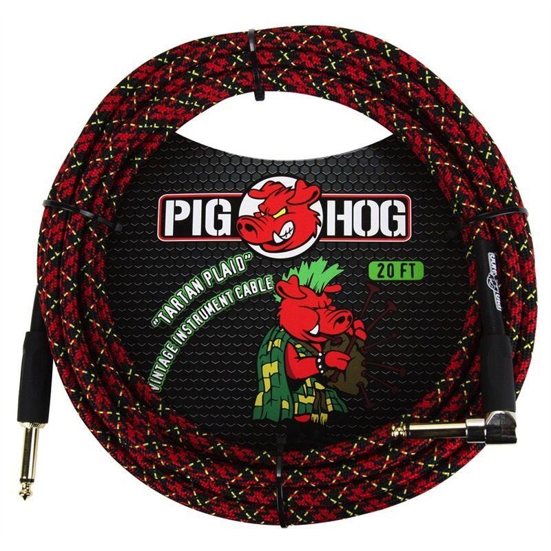 "Pig Hog ""Tartan Plaid"" 20 ft Right Angle Guitar Cable"