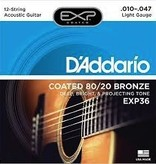 D'Addario EXP Coated Light 12-String Acoustic Guitar Set