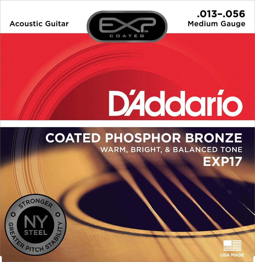D'Addario D'Addario EXP Coated Phosphor Bronze Acoustic Guitar Strings 13-56