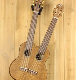 Ortega Ortega Hydra Double Neck Tenor Ukulele w/Gig Bag - 4 & 8-String, Ovangkol top, back & side, Walnut armrest, Custom electronics, natural