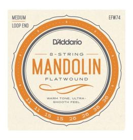 D'Addario EFW74 Flatwound Mandolin Strings, Stainless Steel, Medium, 11-36