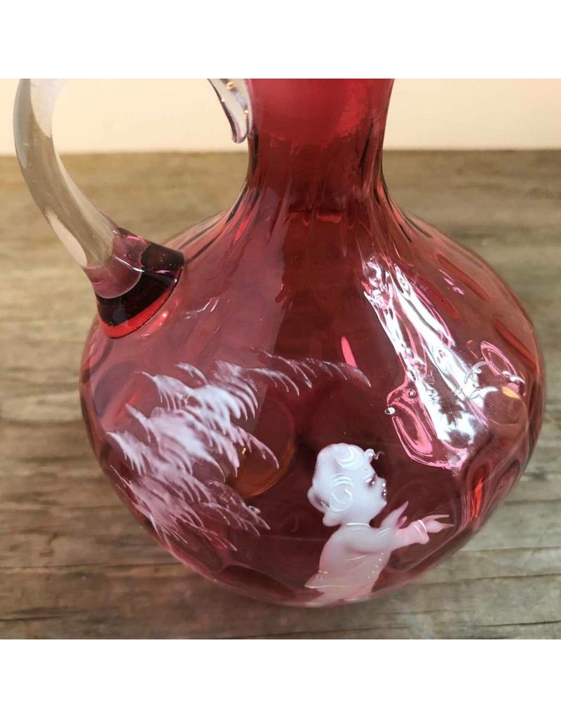 Handpainted Mary Gregory cranberry glass jug
