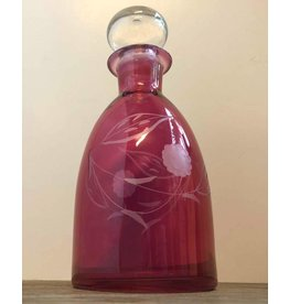 Cranberry glass decanter