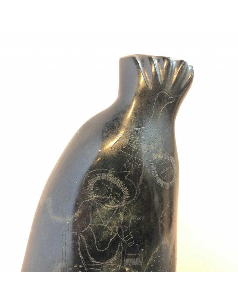 """Soapstone carving - unusual diving seal with etched images, 10"""" tall"""