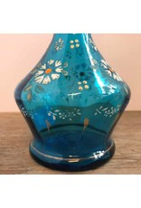 Barber's bottle - no stopper, blue glass, enameled flowers, antique