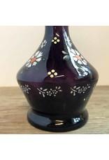 Barber's bottle - no stopper, purple glass, enameled flowers, antique
