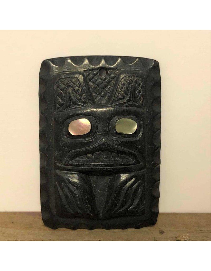Pendant - argillite, square, abalone inlay, MW 1983