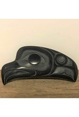 Pin - argillite, eagle, signed possibly HT, Haida Gwaii