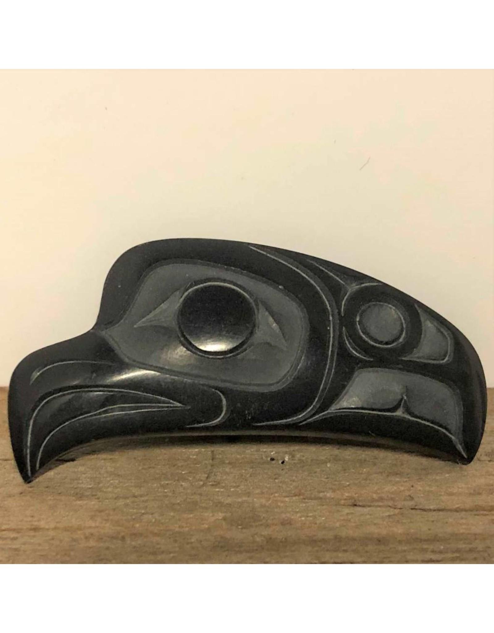 Pin - argillite, eagle, signed possibly HT, Haida Gwaii