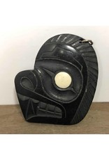 Pendant - argillite, Myles Edgars, 1979, with bone inlay eye