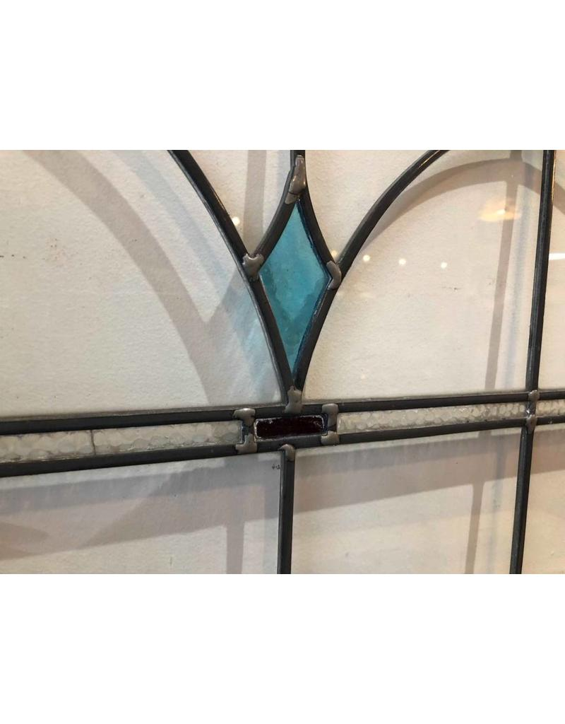 Window - leaded and stained glass, green border and blue diamonds, original Prince Rupert house