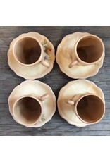 Cups and saucers - set of 4, peach transferware, demitasse, inscibed with USA, maybe Chinese import from 1920s?
