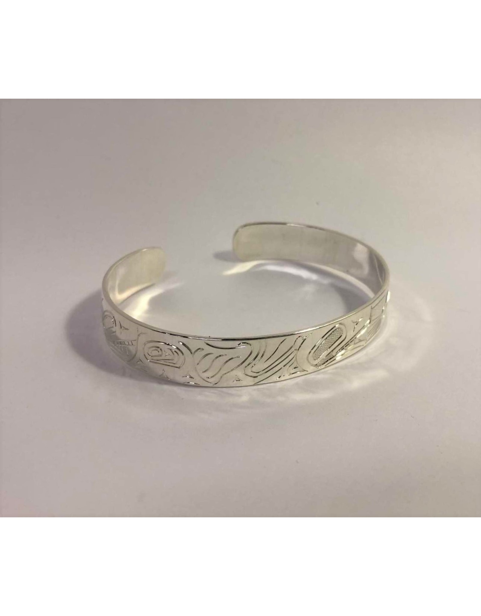 Bracelet - carved silver Sandi McKay First Nations 3 Killer Whales, 3 Salmon, and the Sun