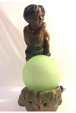 Lamp - figural, little boy piggybacking his sister