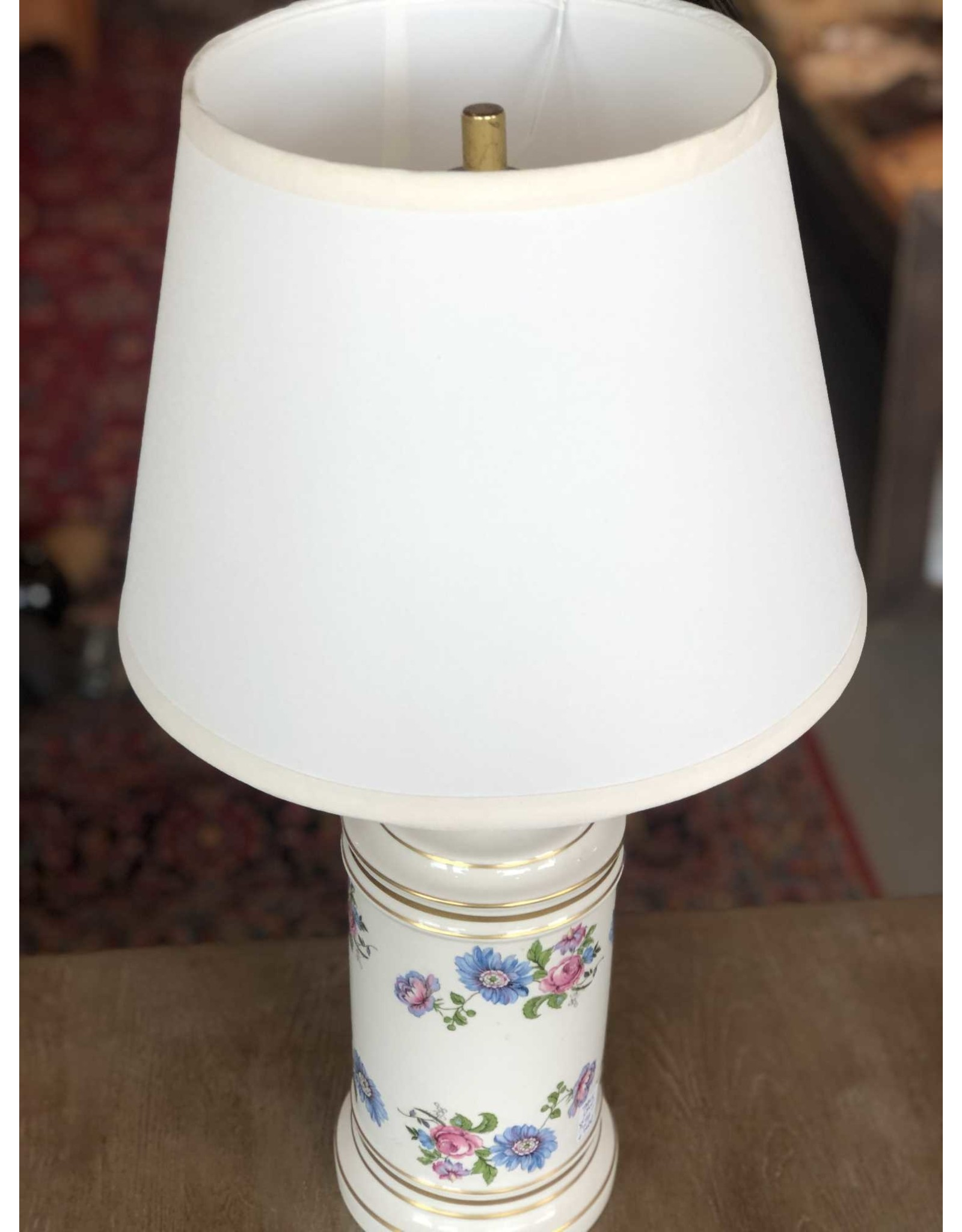 Table lamp - floral porcelain base, white shade