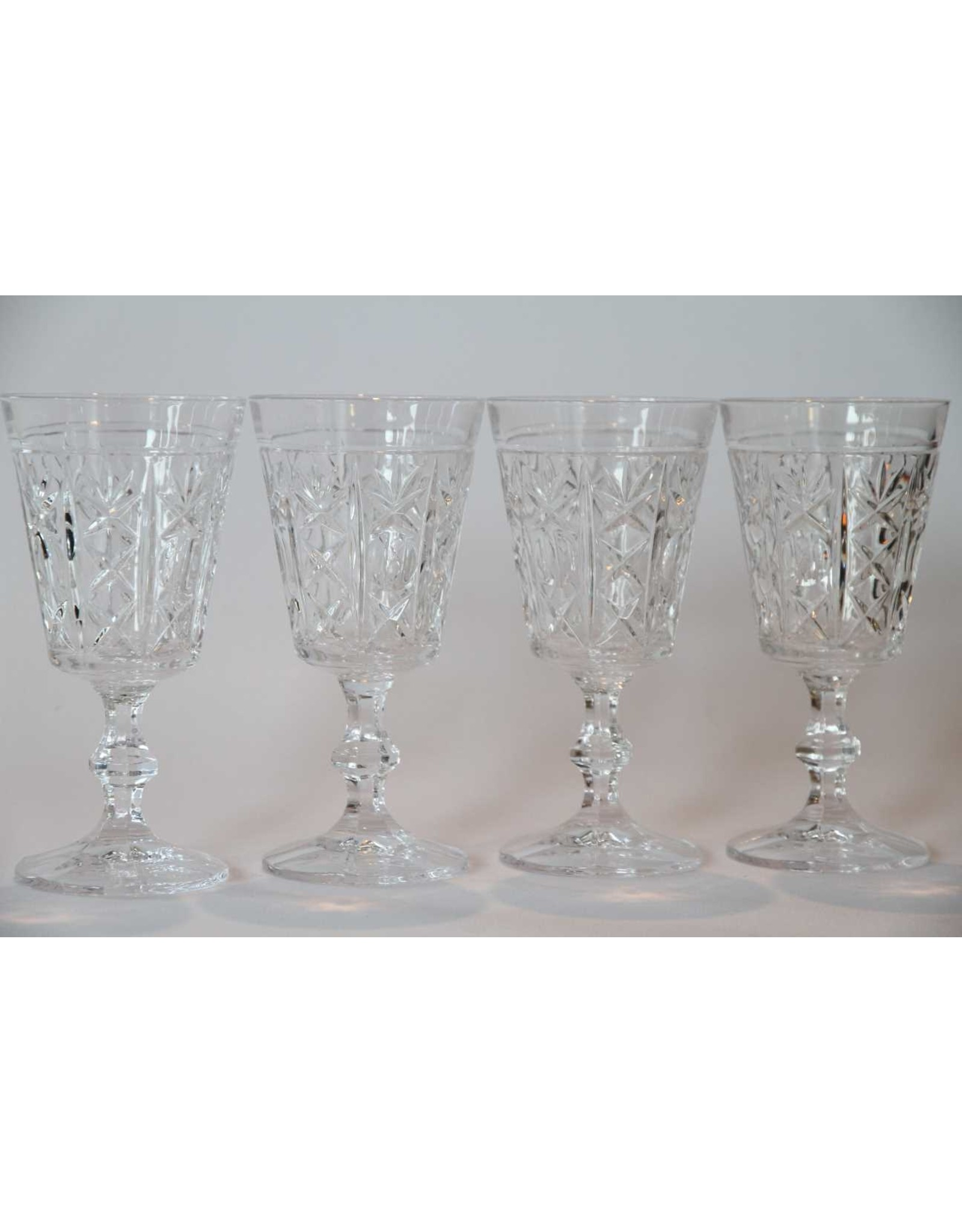 Wine glasses - set of four, crystal, thumbprint