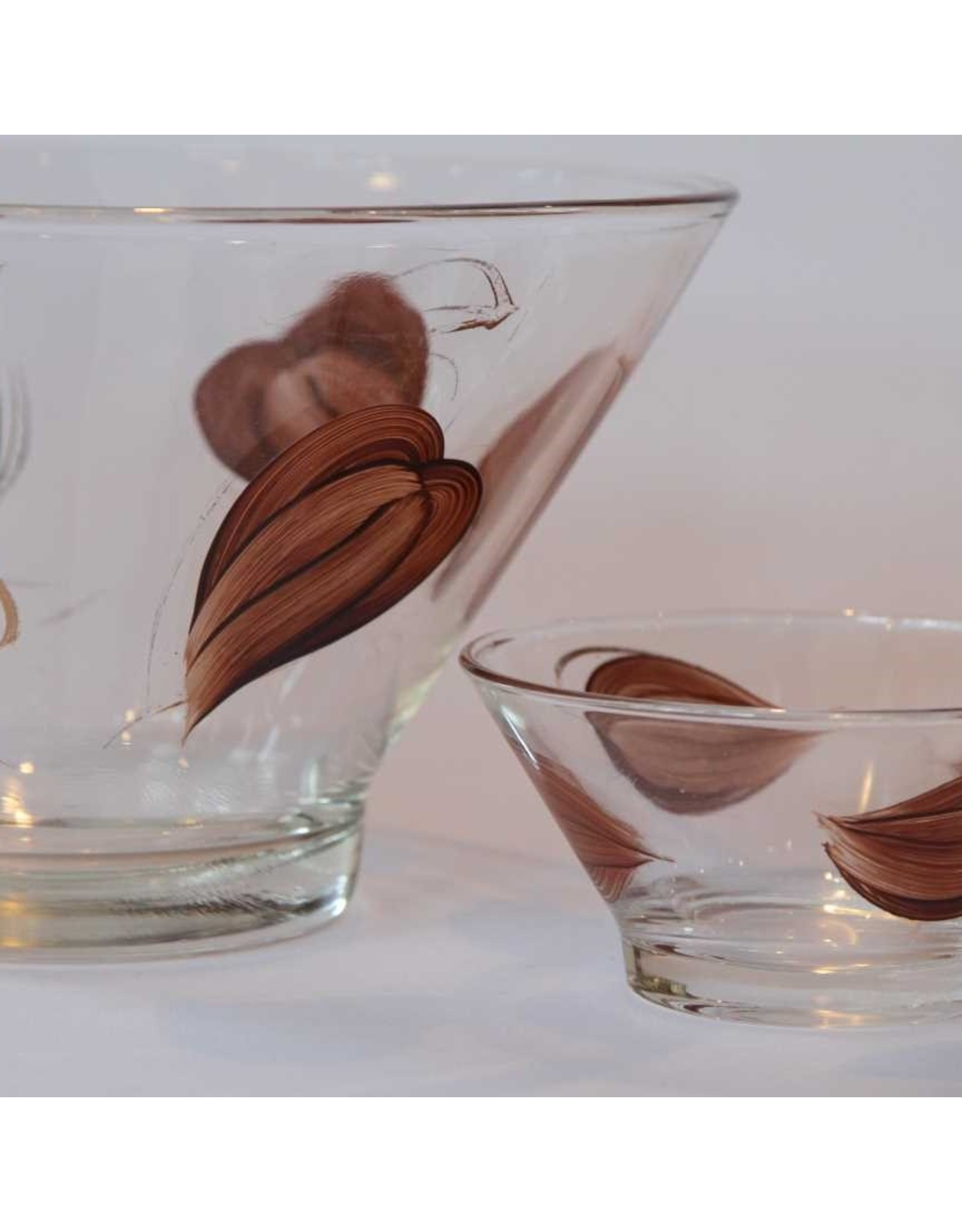 Chip and dip set - matching large and small bowls, brown leaf motif