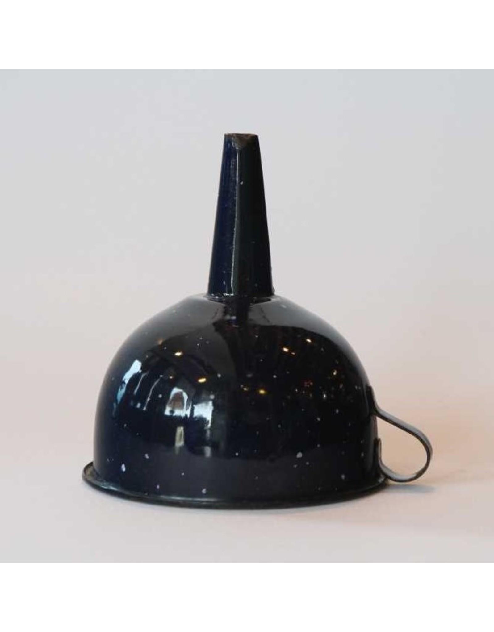 Funnel - dark blue graniteware, rustic, chippy
