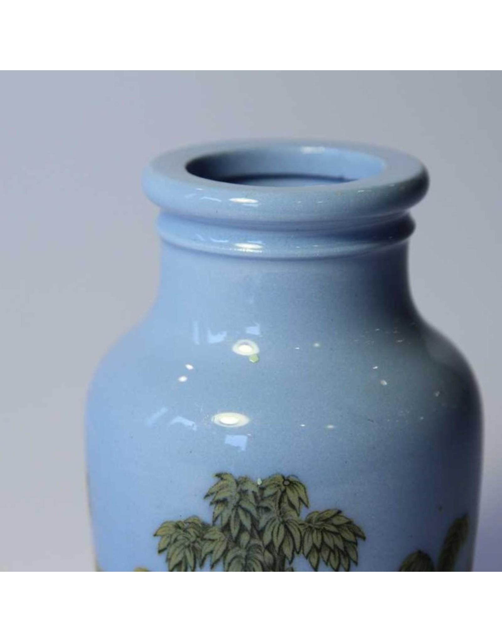 Prattware meat paste jar, blue, circa 1860, as is