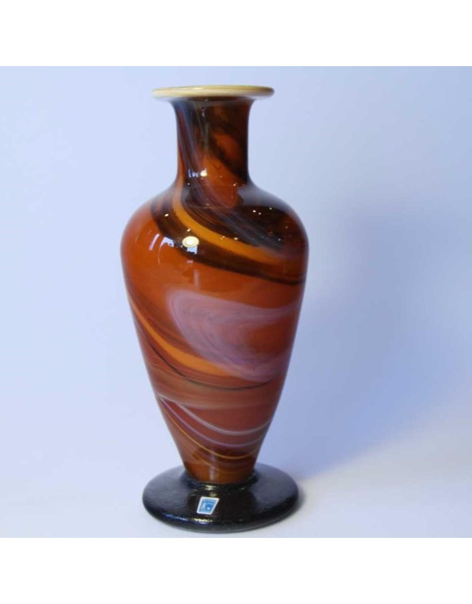 Vase - Johansfors art glass, heavy, orange & brown swirl