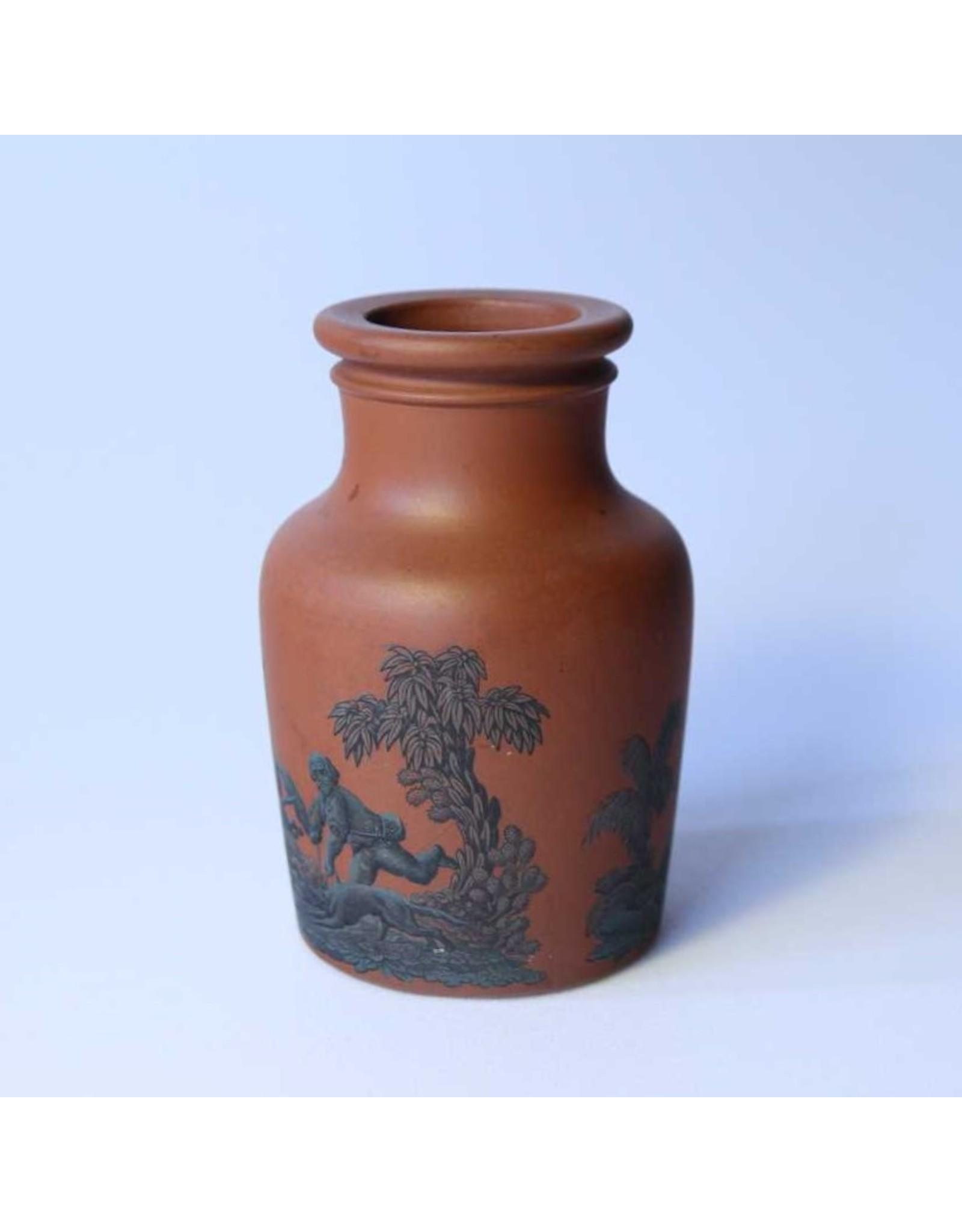Prattware meat paste jar, terracotta, circa 1860