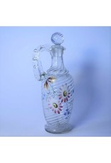 Decanter - glass, hand blow, hand painted flowers