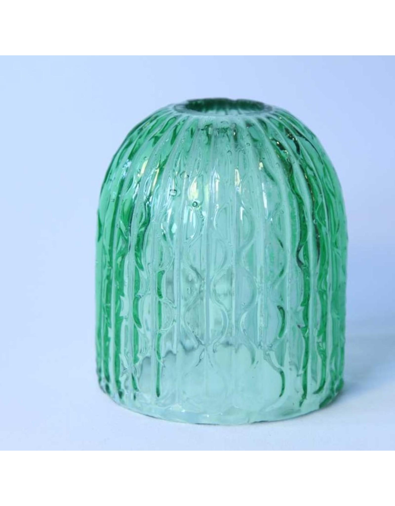 Fairy lamp shade - Victorian, green, bubbles, glass