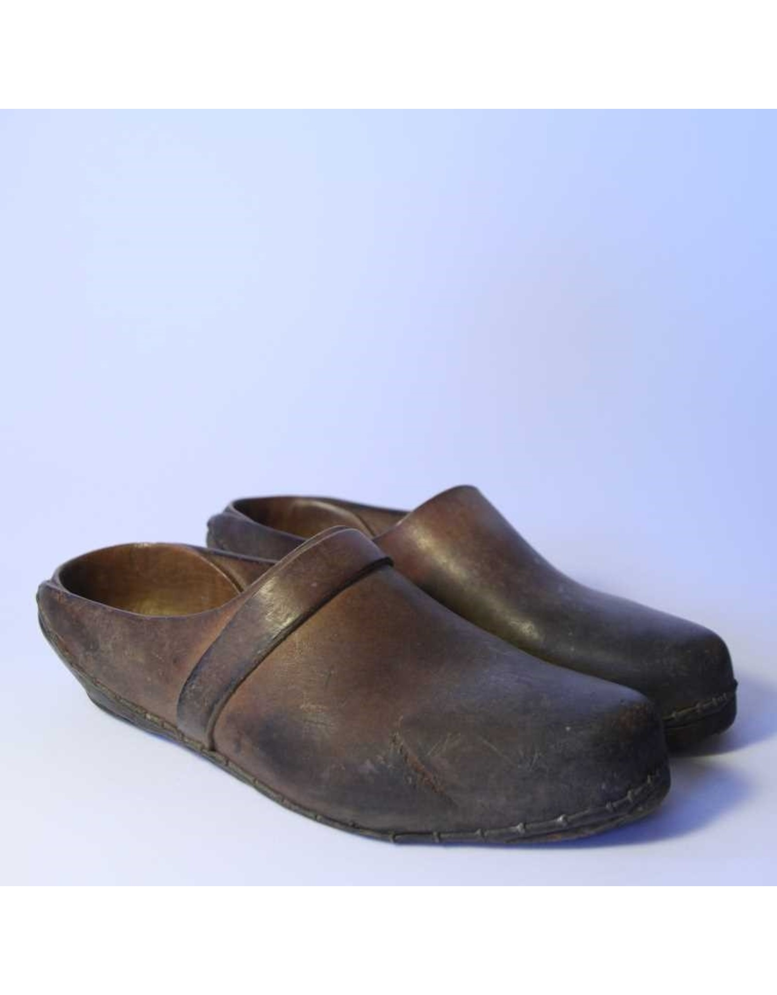 Clogs - handmade, wood and leather, metal wire binding